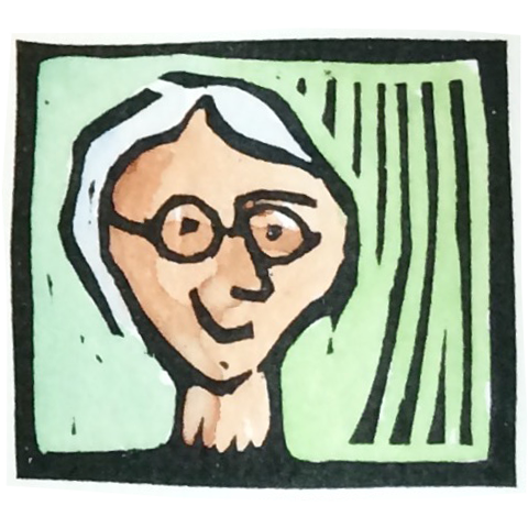 self portrait woodcut of betsy bowen