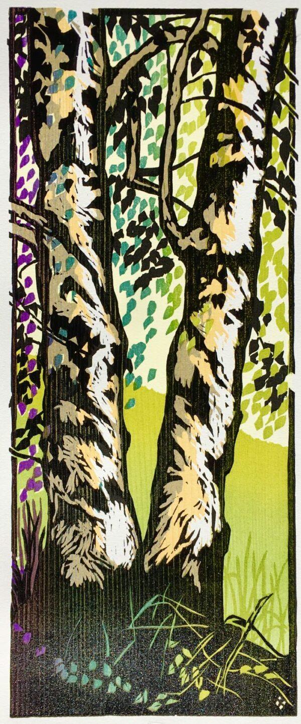 Birches woodcut
